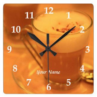 Coffee Time Cappucino Cafe Cream Glass Cup Teatime Wallclocks