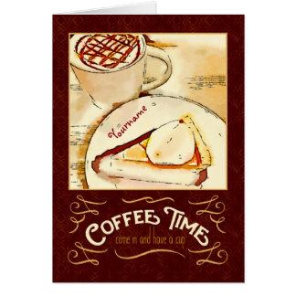 Coffee Time Caramel Macchiato Pumpkin Pie Teatime Greeting Card