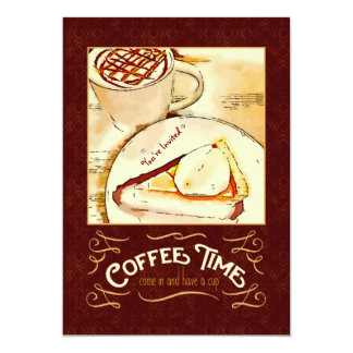 "Coffee Time Caramel Macchiato Pumpkin Pie Teatime 5"" X 7"" Invitation Card"