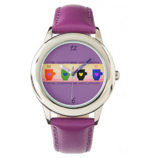 Coffee Time Colorful Bright Funny Purple Trendy Watch