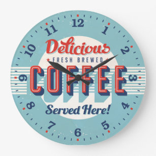 Coffee Time Reto-Style Decorative Wall Clock