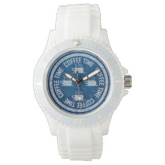 Coffee Time Silver on Blue Wristwatch
