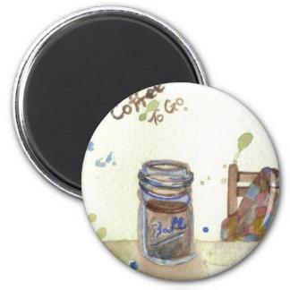 Coffee To Go Folk Art KitchenWare Refrigerator Magnet