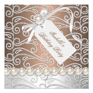 Coffee White Pearl Diamonds Birthday Party 13 Cm X 13 Cm Square Invitation Card