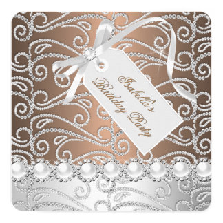Coffee White Pearl Diamonds Birthday Party 2 Customized Announcement Card