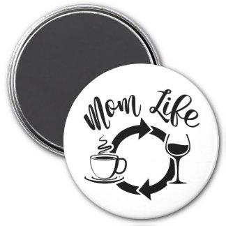 Coffee Wine Repeat #MomLife Magnet