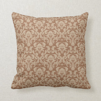 Coffee with Cream, Brown and Taupe Damask Cushion