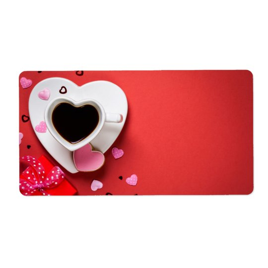 Coffee With Red Gift Box And Cookie Shipping Label
