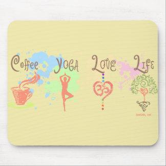 Coffee Yoga Love Life Paint Splatter Mouse Pad