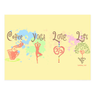 Coffee Yoga Love Life Paint Splatter Postcard