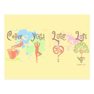 Coffee Yoga Love Life Paint Splatter Postcard
