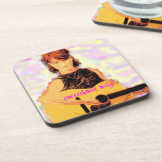 coffeehouse music girl art coaster