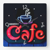 Coffeehouse Neon Light Home Personalised Bar Clock