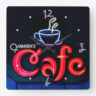 Coffeehouse Neon Light Home Personalized Bar Clock