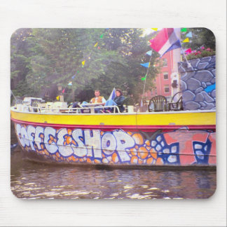 Coffeeshop on an old Dutch barge, Amsterdam Mouse Mat