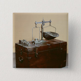 Coffer and scales 15 cm square badge