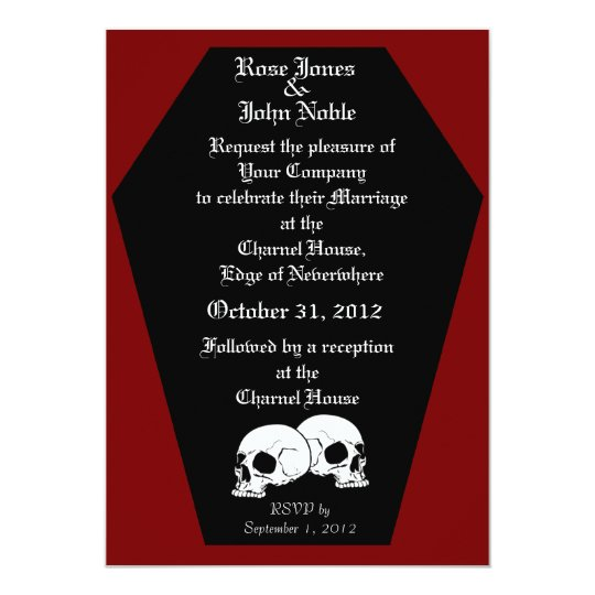 Coffin Ebony (Red) Wedding Invitation