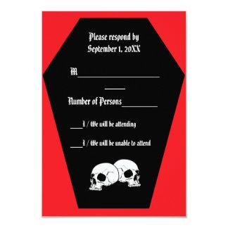 Coffin Ebony (Ruby) RSVP Card 9 Cm X 13 Cm Invitation Card