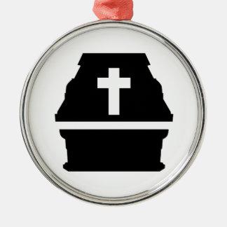 Coffin Silver-Colored Round Decoration