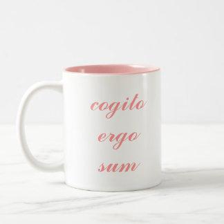 Cogito Ergo Sum pink 2-tone mug (right-hand)