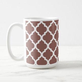 Cognac Brown Moroccan Tile Trellis Coffee Mug