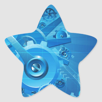 Cogs and Gears Blue Business Background Star Sticker