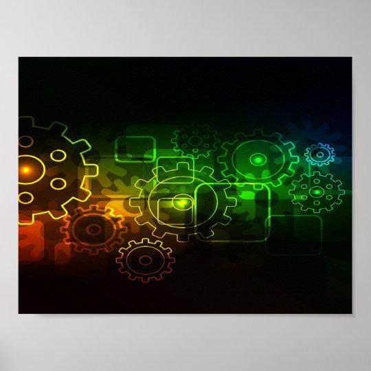 Cogwheels mechanics on black, neon green orange poster