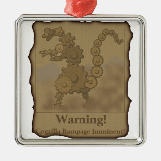 "CogzillA ""Warning!"" Silver-Colored Square Decoration"