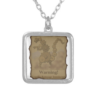 """CogzillA """"Warning!"""" Silver Plated Necklace"""