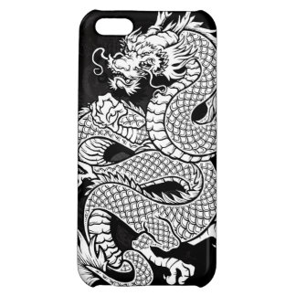 Coiled Chinese Dragon Black and White iPhone 5C Covers