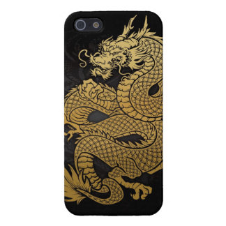 coiled Chinese Dragon Gold on Black iPhone 5/5S Cover