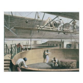 Coiling the telegraph cable in the tanks at the wo posters