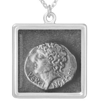 Coin bearing the effigy of Vercingetorix Silver Plated Necklace