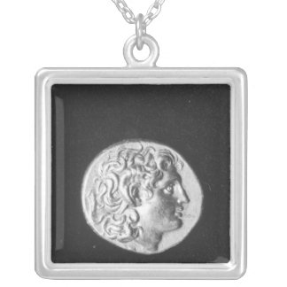 Coin bearing the head of Alexander the Great Silver Plated Necklace