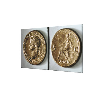 Coin depicting Nero Stretched Canvas Prints