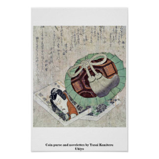 Coin purse and novelettes by Yusai Kuniteru Ukiyo Print