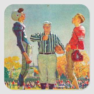 Coin Toss by Norman Rockwell Square Sticker