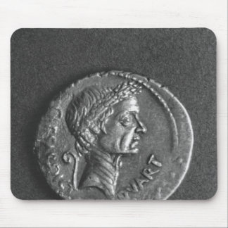 Coin with a portrait of Julius Caesar Mousepads