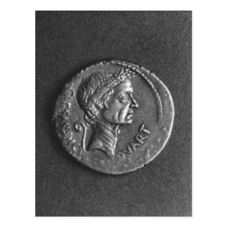 Coin with a portrait of Julius Caesar Postcard