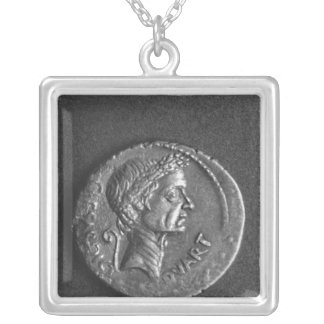 Coin with a portrait of Julius Caesar Silver Plated Necklace