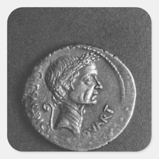 Coin with a portrait of Julius Caesar Square Sticker