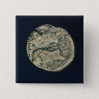 Coin with heads of Julius Caesar  and Augustus 15 Cm Square Badge