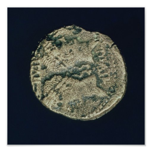 Coin with heads of Julius Caesar  and Augustus Posters