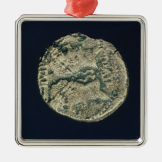 Coin with heads of Julius Caesar  and Augustus Silver-Colored Square Decoration