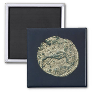 Coin with heads of Julius Caesar  and Augustus Square Magnet