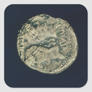 Coin with heads of Julius Caesar  and Augustus Square Sticker