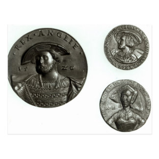 Coins depicting Henry VIII and Anne Boleyn Postcard