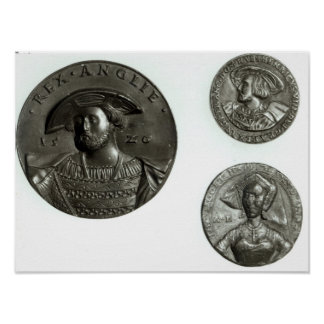 Coins depicting Henry VIII and Anne Boleyn Poster