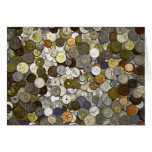 Coins of the World Blank Greeting Card