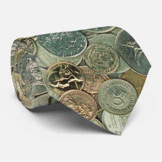 Coins of the world   Cash Photo Pattern Tie